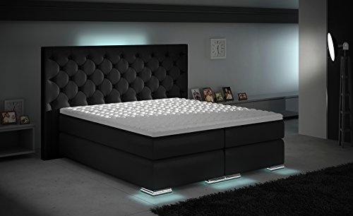 xxxl boxspringbett designer boxspring bett led schwarz. Black Bedroom Furniture Sets. Home Design Ideas