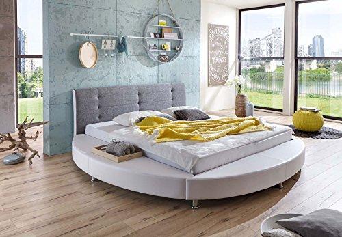 SAM® Design Rundbett Bastia, Bett in weiß /grau, Kopfteil abgesteppt, mit Chromfüßen, auch als Wasserbett verwendbar, 180 x 200 cm