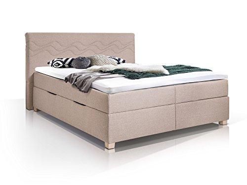 WAVE Boxspringbett mit Stoffbezug inklusive Bettkasten, 180 x 200 cm, beige, Härtegrad 3