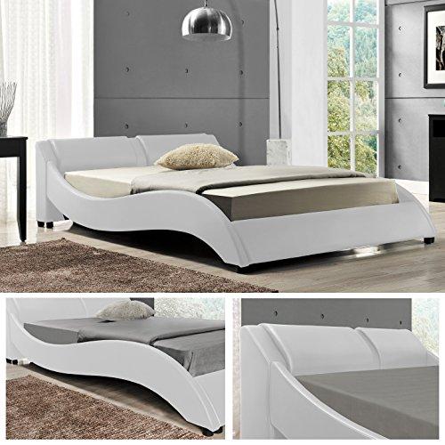 OSLO Doppelbett Polsterbett Bettgestell Bett Lattenrost Kunstlederbett (Weiss, 140cm x 200cm)