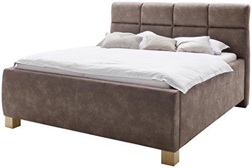 sette notti  Polsterbett Bett 180x200 Braun Dark Vintage Look, Bett mit Bettkasten, Bett mit Boxspringbett-Optik mit Liegefläche 180x200 cm, Key West Art Nr. 1266-99-5000