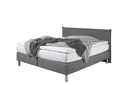 Maintal Boxspringbett Point, 140 x 200 cm, Stoff, 7-Zonen-Kaltschaum Matratze h3, Grau