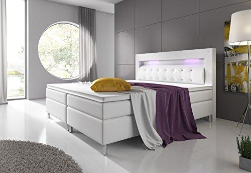 Boxspringbett 180x200 cm mit Bonell-Federkernmatratze Topper in H3 Weiß Hotelbett Doppelbett LED-Beleuchtung