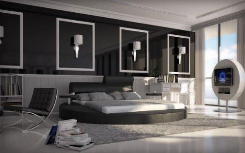 SAM® Innocent Rundbett in schwarz, inklusiv 2 Nachttischablagen, Kopfteil aufklappbar, modernes Design, 160 x 200 cm [53256821]