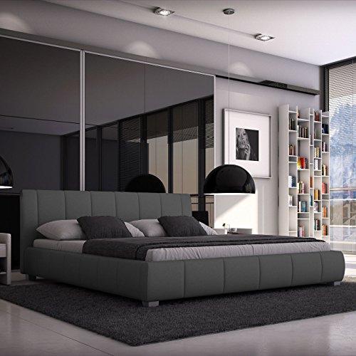 Luna Polsterbett 180x200 cm Doppelbett / Bett / Designerbett / Kunstleder grau
