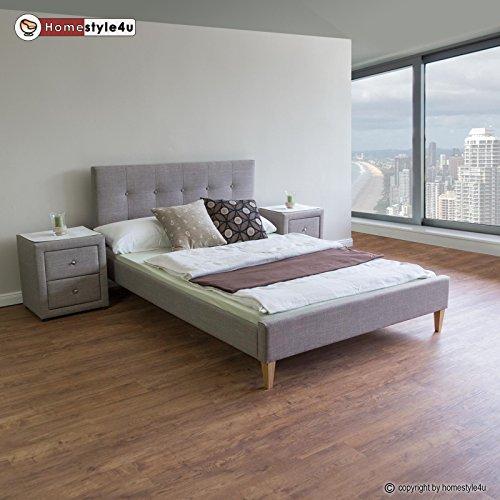 Homestyle4u 1736 Polsterbett 180 x 200 Doppelbett Stoffbett Bettgestell mit Rückenlehne & Lattenrost Bett Grau
