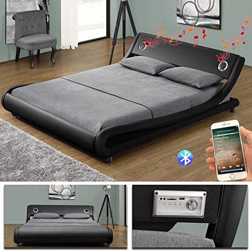 MEMPHIS Bluetooth Doppelbett Polsterbett Bettgestell Bett Lattenrost Kunstleder