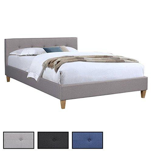 Polsterbett ADELE Bettgestell 140x200 cm Doppelbett Designbett, inklusive Rollrost, Stoffbezug in 3 Farben