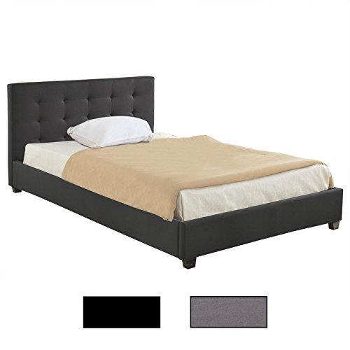 Polsterbett Doppelbett CLAIRE grau oder schwarz 120 x 200 cm, inklusive Lattenrost, mit Stoffbezug