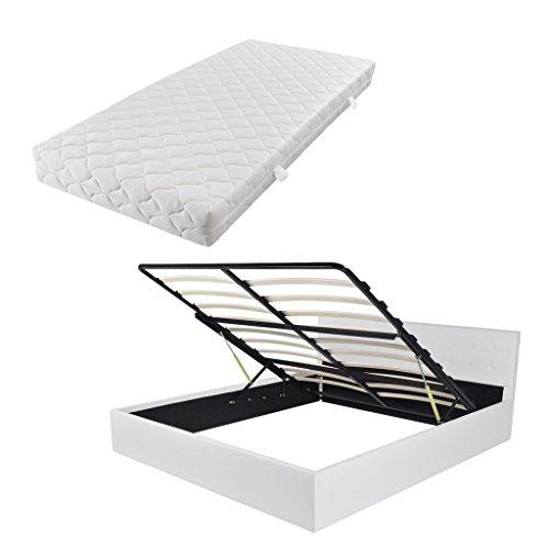 Festnight Bett Bettrahmen Polsterbett Doppelbett Bettgestell mit Gasfeder & 160x200 cm Matratze & Staufach - Weiß