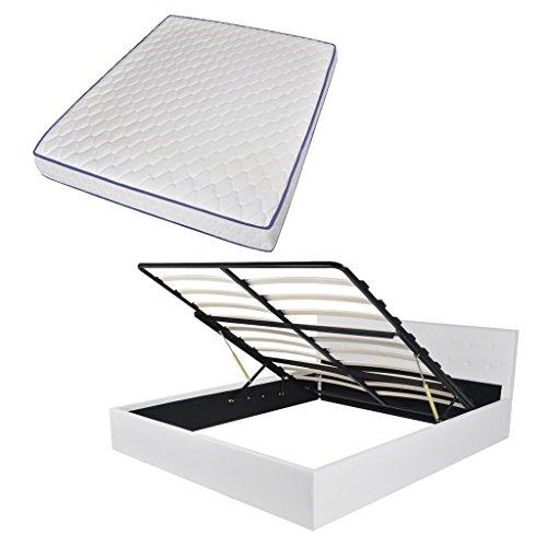 Festnight Bett Bettrahmen Polsterbett Kunstlederpolsterung Doppelbett Bettgestell mit Staufach & 160x200 cm Memory-Matratze Weiß