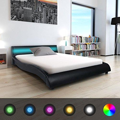 Festnight Bett Holzbett Kunstlederpolsterung Bettrahmen Doppelbett Schlafzimmerbett mit LED-Streifen und 140x200cm Memory-Matratze - Schwarz