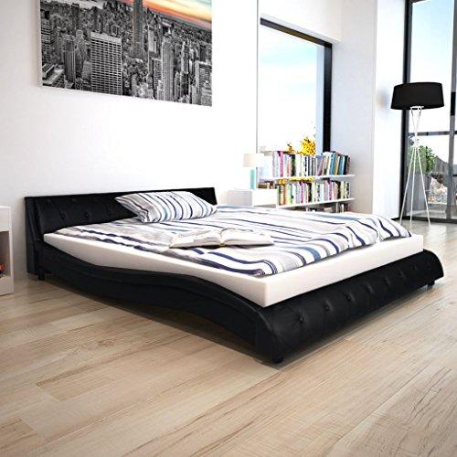 Festnight Bett Kunstlederbett Bettgestell Bettrahmen Doppelbett Gästebett Schlafzimmerbett mit 160x200 cm Matratze Wellen-Design Schwarz