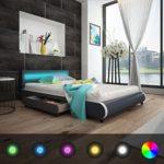 Festnight Bett Kunstlederbett Doppelbett Bettgestell Bettrahmen mit LED-Leiste am Kopfteil + 140 x 200 cm Memory-Matratze