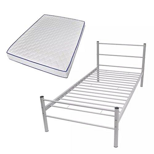 Festnight Einzelbett Bettgestell Gästebett Metallbett Metall Rahmen Bett aus Metall mit Matratze 90x200 cm Grau