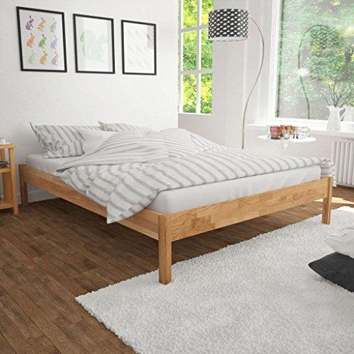 Festnight Holzbett Doppelbett Bett Bettgestell Gästebett aus Holz ohne Matratze 180 x 200 cm Natur