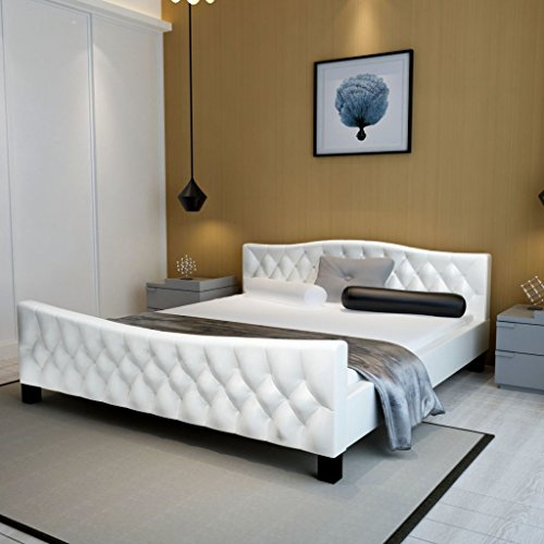 Festnight Polsterbett Bett Doppelbett Ehebett aus Kunstleder ohne Matratze 140 x 200 cm Weiß