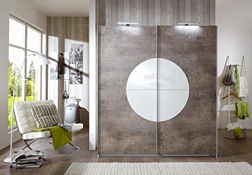 Wimex 255771 Kleiderschrank, Holz, Front betonfarbig / korpus, Absetzungen Glas, alpinweiß, 180 x 64 x 198 cm