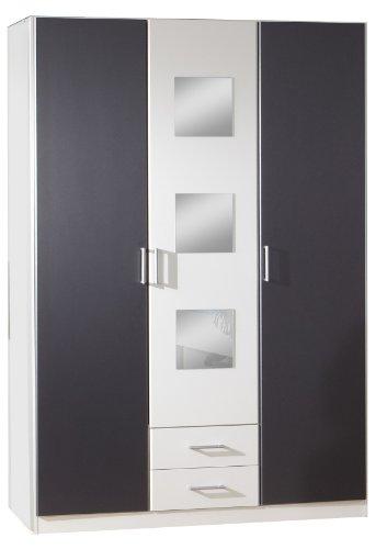 Wimex 380484 Kleiderschrank 3-türig 135 x 197 x 58 cm, Front und Korpus alpinweiß, Absetzungen anthrazit