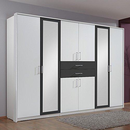 Wimex Kleiderschrank 450548 Diver, Weiß, Abs. Anthrazit, 270 cm Breite
