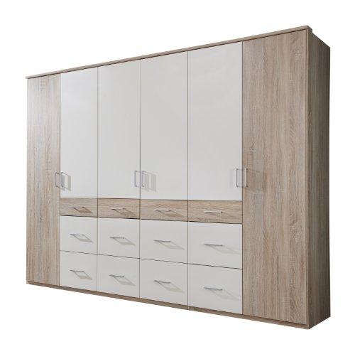 Wimex Kleiderschrank/ Drehtürenschrank Click II, 6 Türen, (B/H/T) 270 x 210 x 58 cm, Eiche Sägerau/Absetzung Weiß