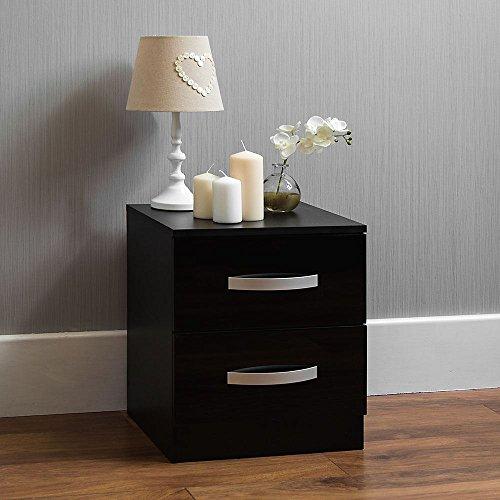 Home Discount hulio Hochglanz Nachttisch, 2Schubladen, mit Metall-Griffen und Läufer, anti-bowing Schubladen, Schlafzimmer-Möbel