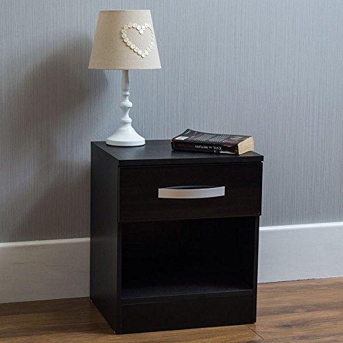 Home Discount hulio Nachttisch, Hochglanz, 1Schublade, mit Griffen aus Metall, einzigartige anti-bowing Schubladen, Schlafzimmer-Möbel