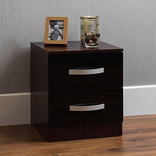 Home Discount hulio Nachttisch, Hochglanz, Schwarz & Walnuss, mit 2Schubladen, Metallgriffe, Einzigartige Anti-Bowing, Schublade, Schlafzimmer, Möbel