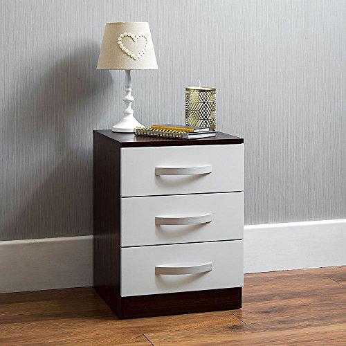 Home Discount hulio Schubladen-Kommode, 3Schubladen, Weiß & Walnuss, Hochglanz mit Metall-Griffen und Läufer (anti-bowing Schubladen, Schlafzimmer-Möbel
