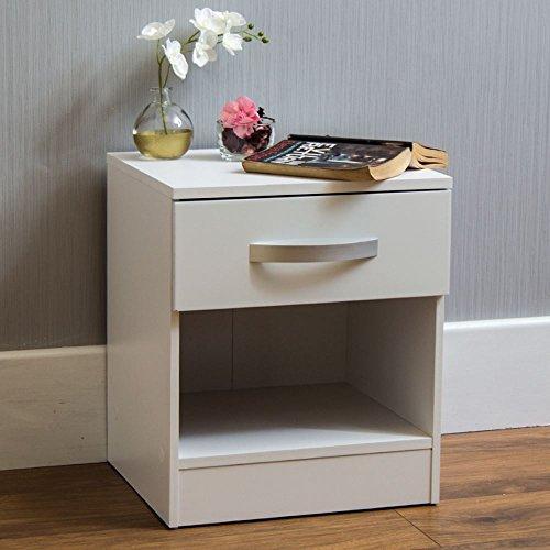 Home Discount hulio weiß Hochglanz Nachttisch, 1Schublade, mit Metall-Griffen und Läufer (anti-bowing Schubladen, Schlafzimmer-Möbel