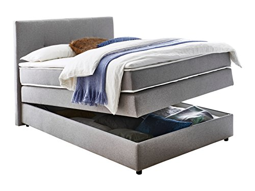 Atlantic Home Collection Boxspringbett mit Bettkästen, Stoff, Grau