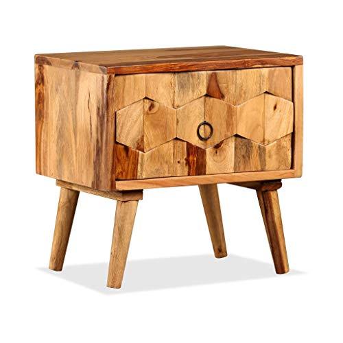 Festnight Nachttisch Nachtkommode mit 1 Schublade Massiv Sheeshamholz Holztisch ALS Telefontisch 40 x 30 x 40 cm