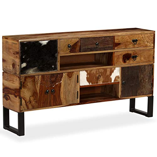 Festnight- Sideboard Beistellkommode Sheesham-Holz Massiv 140 x 30 x 80 cm