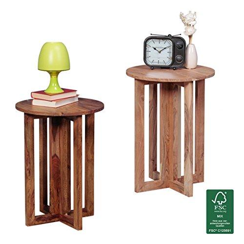 FineBuy Beistelltisch Massiv-Holz Akazie Wohnzimmer-Tisch 45 x 45 cm rund Couchtisch Natur-Holz dunkel-braun Nachttisch Telefontisch Landhaus-Stil Nachtkommode Echtholz Anstelltisch 60 cm hoch