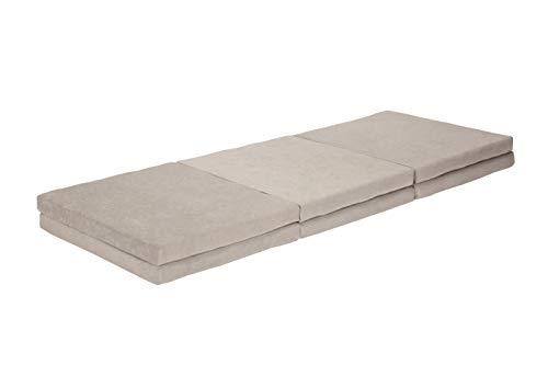 Gigapur 25472 Twin Doppel-Klappmatratze | Faltmatratze in grau | Doppel- und Einzel-Gästematratze | 75 x 195 x 14 cm & 150 x 195 x 7 cm