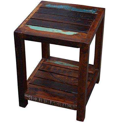 KMH®, Beistelltisch mit Ablage Rustic im Shabby Chic/Vintage Style (aus recyceltem Sheeshamholz gefertigt) (#202217)