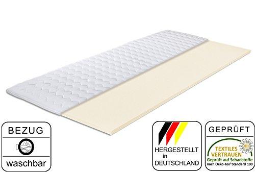 Komfortschaum-Topper Gina 80 x 190 cm | Made IN Germany | Höhe ca. 4,5cm | Hochwertiger Bezug - abnehmbar & waschbar | Matratzenauflage für Boxspring-Betten | Topper in Verschiedenen Größen