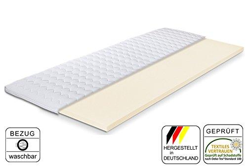 Komfortschaum-Topper Kyoto 80 x 190 cm | Made IN Germany | Höhe ca. 5,5cm | Hochwertiger Bezug - abnehmbar & waschbar | Matratzenauflage für Boxspring-Betten | Topper in Verschiedenen Größen