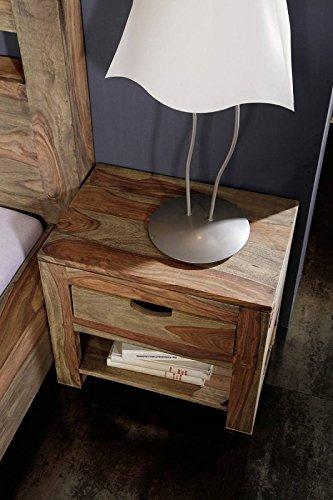 MASSIVMOEBEL24.DE Nachttisch Nature Grey #91 | Massivholz aus Palisander Holz