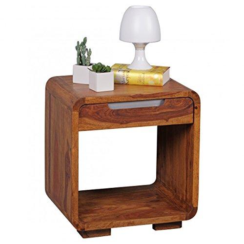 Nachttisch BOHA Massiv-Holz Sheesham Design Nachtkommode 55 cm hoch mit Schublade Nachtschrank für Boxspringbett