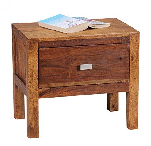 Nachttisch Massiv-Holz Sheesham Nacht-Kommode 40 cm 1 Schublade Ablage Nachtschrank Landhaus-Stil Echt-Holz