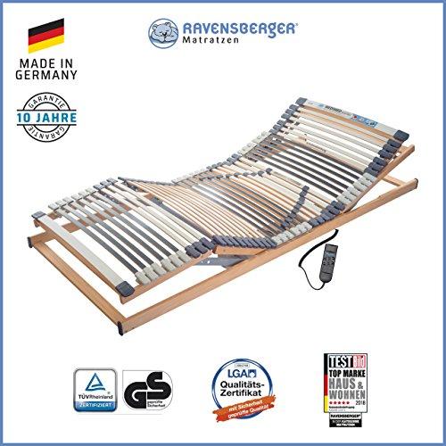Ravensberger Matratzen® Medimed® Lattenrost | 7-Zonen-Buche-Lattenrahmen | 44 Leisten| elektrisch| MADE IN GERMANY - 10 JAHRE GARANTIE | 80x190 cm