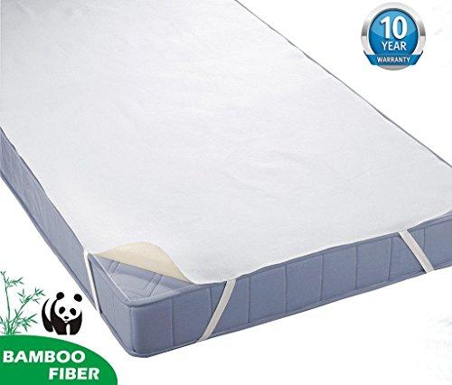 Tofern Matratzenauflagen Bettlake Bettauflage mit 4 Gummibänder 100% wasserdicht Bambus für Allergiker knistern NICHT robust 10 Jahre Garantie, 90x190