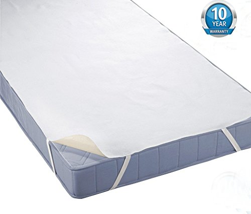 Tofern Matratzenauflagen Bettlaken Matratzenspannauflage mit 4 Gummibänder Baumwolle 100% wasserdicht allergikergeeignet raschelt NICHT robust 10 Jahre Garantie, Weiß 180x200