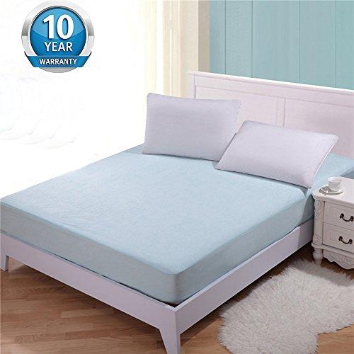 Tofern Matratzenschoner Spannbettlaken allergikergeeignet Baumwolle 100% wasserdicht knistern NICHT robust für 5-35cm Matratze verschiedene Größen verschiedene Farbe 10 Jahre Garantie, Blau 90x190
