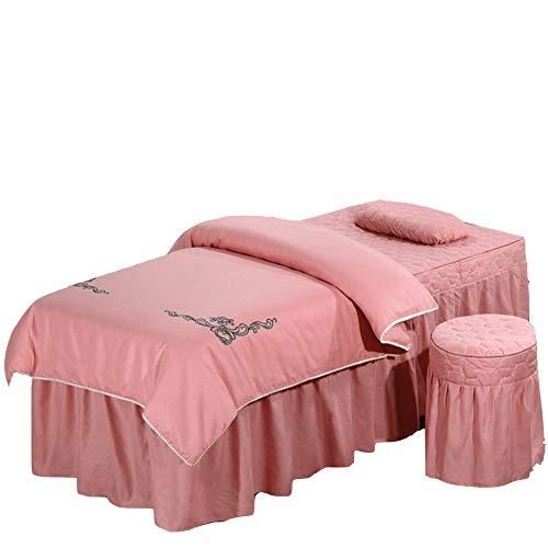UP&sleep Reine Farbe Baumwolle Massage-Bett-Set,Europäische Schönheit Bettdecke Matratze Atmungsaktive Gewaschen 4-teiliges Set-Rosa 80x190cm(31x75inch)
