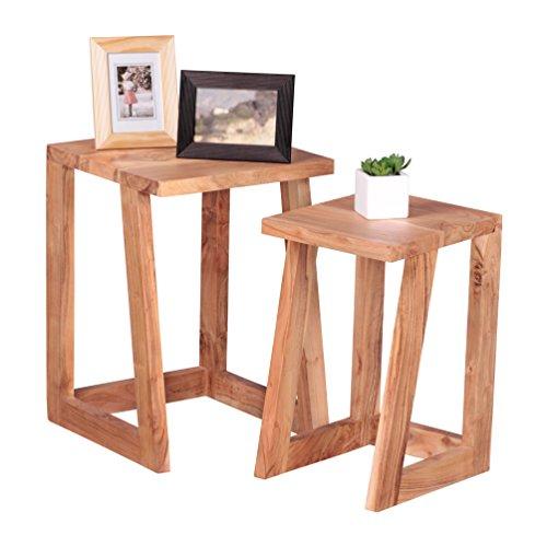 WOHNLING 2er Set Beistelltisch Massiv-Holz Design Satztisch Wohnzimmer-Tisch rund Couchtisch Natur-Holz dunkel-braun Nachttisch Landhaus-Stil Nachtkommode Untergestell Telefontisch 50 cm hoch