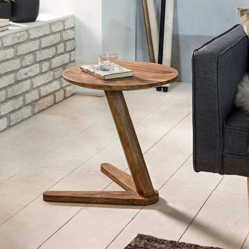 WOHNLING Beistelltisch Massiv-Holz Design Wohnzimmer-Tisch 45 x 45 cm rund Couchtisch Natur-Holz dunkel-braun Nachttisch Landhaus-Stil Nachtkommode Untergestell V-Form Telefontisch 50cm hoch