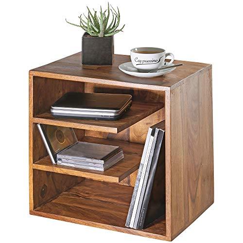 WOHNLING Beistelltisch SURNAR 43x43x30 cm Sheesham Massivholz Design Nachttisch | Kleiner Wohnzimmertisch mit Ablagen | Designer Holztisch massiv | Nachtkonsole Nachtkommode Holz | Anstelltisch modern