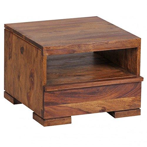 Wohnling Nachttisch, Nachtkommode, Nachtschrank mit Einer Schublade und Ablage aus Massivholz Sheesham; Maße (B/T/H) in cm: 40 40 x 30